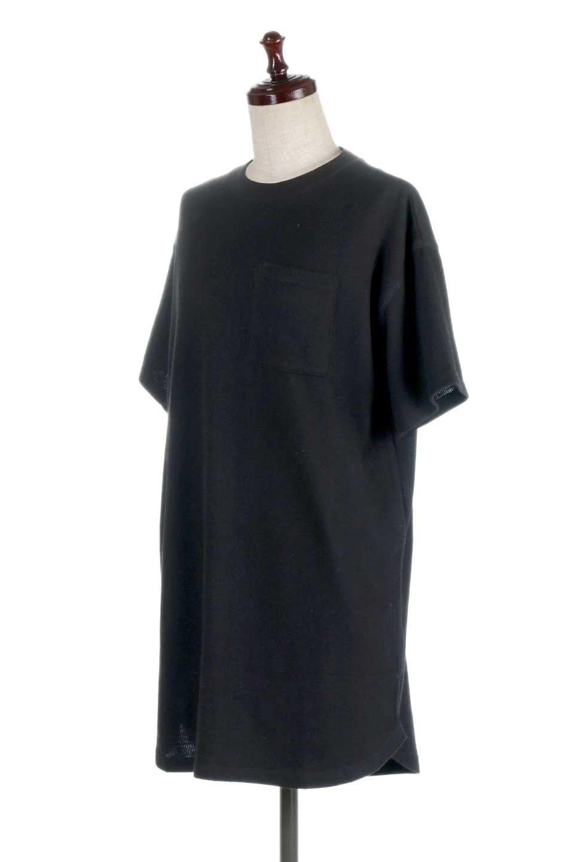 ShortSleeveClueNeckLongTopテレコ素材・ロングトップス大人カジュアルに最適な海外ファッションのothers(その他インポートアイテム)のトップスやカットソー。凹凸感のあるテレコ素材を使用したロング丈の半袖チュニック。そのまま着てもブラウジングしても楽しめるシンプルデザイン。/main-16