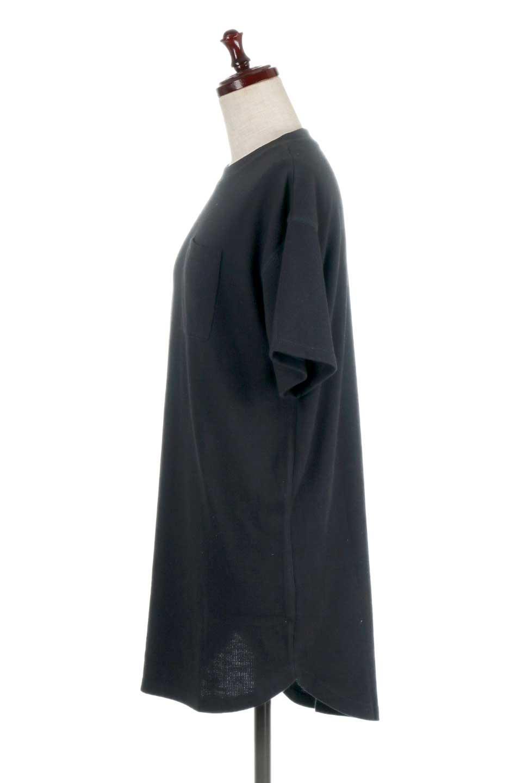 ShortSleeveClueNeckLongTopテレコ素材・ロングトップス大人カジュアルに最適な海外ファッションのothers(その他インポートアイテム)のトップスやカットソー。凹凸感のあるテレコ素材を使用したロング丈の半袖チュニック。そのまま着てもブラウジングしても楽しめるシンプルデザイン。/main-17