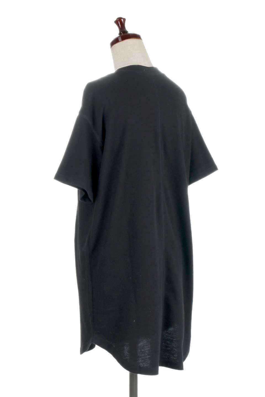 ShortSleeveClueNeckLongTopテレコ素材・ロングトップス大人カジュアルに最適な海外ファッションのothers(その他インポートアイテム)のトップスやカットソー。凹凸感のあるテレコ素材を使用したロング丈の半袖チュニック。そのまま着てもブラウジングしても楽しめるシンプルデザイン。/main-18