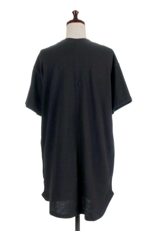 ShortSleeveClueNeckLongTopテレコ素材・ロングトップス大人カジュアルに最適な海外ファッションのothers(その他インポートアイテム)のトップスやカットソー。凹凸感のあるテレコ素材を使用したロング丈の半袖チュニック。そのまま着てもブラウジングしても楽しめるシンプルデザイン。/main-19