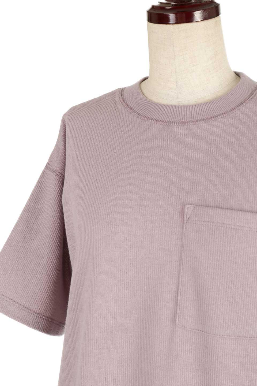 ShortSleeveClueNeckLongTopテレコ素材・ロングトップス大人カジュアルに最適な海外ファッションのothers(その他インポートアイテム)のトップスやカットソー。凹凸感のあるテレコ素材を使用したロング丈の半袖チュニック。そのまま着てもブラウジングしても楽しめるシンプルデザイン。/main-22