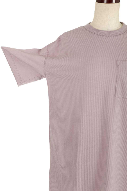 ShortSleeveClueNeckLongTopテレコ素材・ロングトップス大人カジュアルに最適な海外ファッションのothers(その他インポートアイテム)のトップスやカットソー。凹凸感のあるテレコ素材を使用したロング丈の半袖チュニック。そのまま着てもブラウジングしても楽しめるシンプルデザイン。/main-25