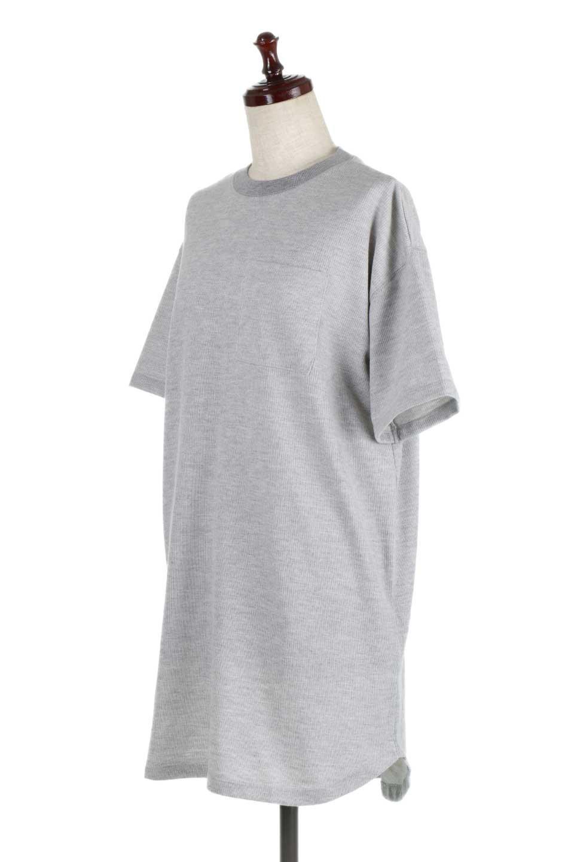 ShortSleeveClueNeckLongTopテレコ素材・ロングトップス大人カジュアルに最適な海外ファッションのothers(その他インポートアイテム)のトップスやカットソー。凹凸感のあるテレコ素材を使用したロング丈の半袖チュニック。そのまま着てもブラウジングしても楽しめるシンプルデザイン。/main-6