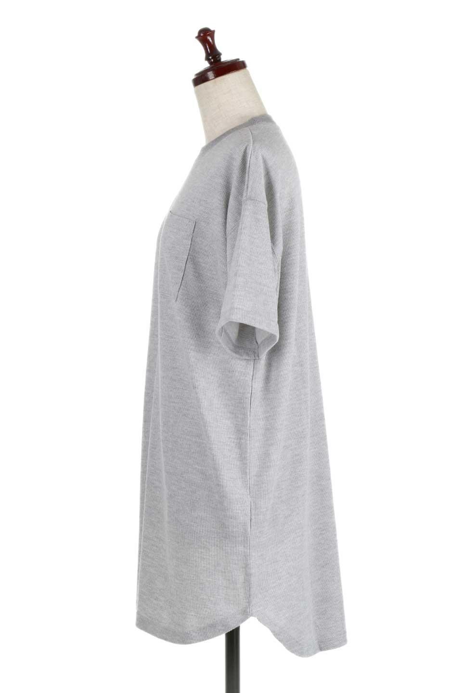 ShortSleeveClueNeckLongTopテレコ素材・ロングトップス大人カジュアルに最適な海外ファッションのothers(その他インポートアイテム)のトップスやカットソー。凹凸感のあるテレコ素材を使用したロング丈の半袖チュニック。そのまま着てもブラウジングしても楽しめるシンプルデザイン。/main-7
