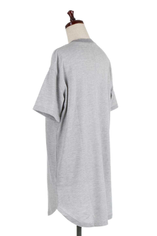 ShortSleeveClueNeckLongTopテレコ素材・ロングトップス大人カジュアルに最適な海外ファッションのothers(その他インポートアイテム)のトップスやカットソー。凹凸感のあるテレコ素材を使用したロング丈の半袖チュニック。そのまま着てもブラウジングしても楽しめるシンプルデザイン。/main-8