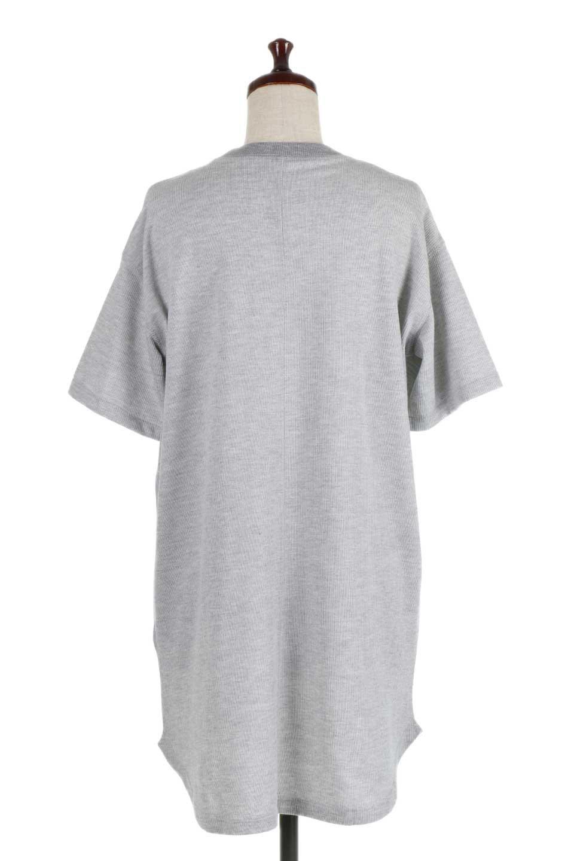 ShortSleeveClueNeckLongTopテレコ素材・ロングトップス大人カジュアルに最適な海外ファッションのothers(その他インポートアイテム)のトップスやカットソー。凹凸感のあるテレコ素材を使用したロング丈の半袖チュニック。そのまま着てもブラウジングしても楽しめるシンプルデザイン。/main-9