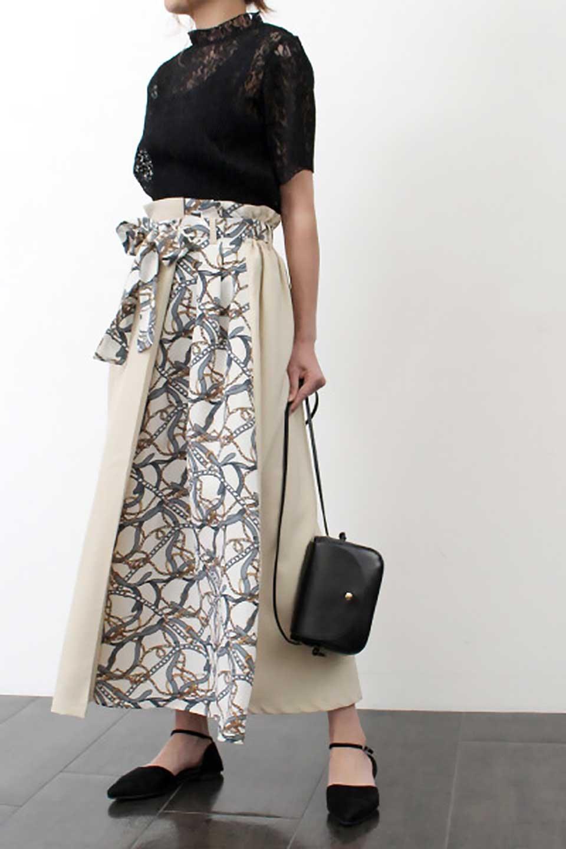 ScarfPanelLongSkirtスカーフ柄・切り替えスカート大人カジュアルに最適な海外ファッションのothers(その他インポートアイテム)のボトムやスカート。スカーフ柄の切り替えが可愛い切り替えスカート。カジュアル感のある上品さが大人気のロングスカートです。/main-22