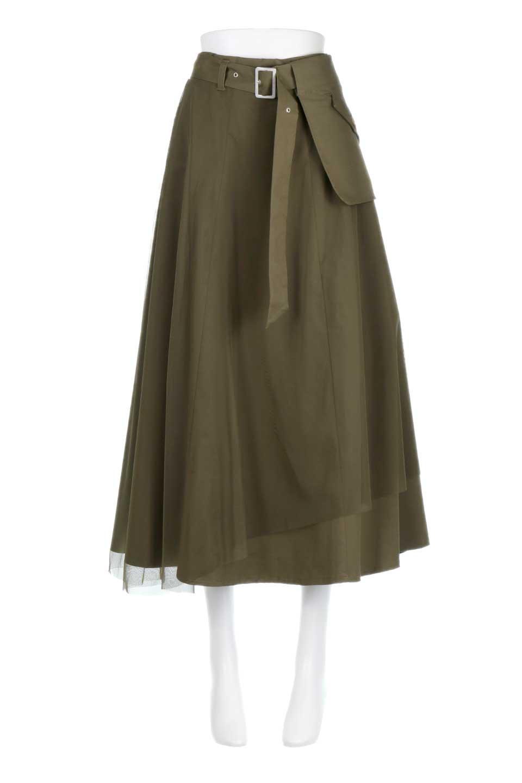TulleLayeredLongSkirtチュールレイヤード・ロングスカート大人カジュアルに最適な海外ファッションのothers(その他インポートアイテム)のボトムやスカート。チュールとチノ素材のレイヤード・ロングスカート。ミリタリーやワーク系のディテールを透け感のあるチュールが優しく包んだスカートです。