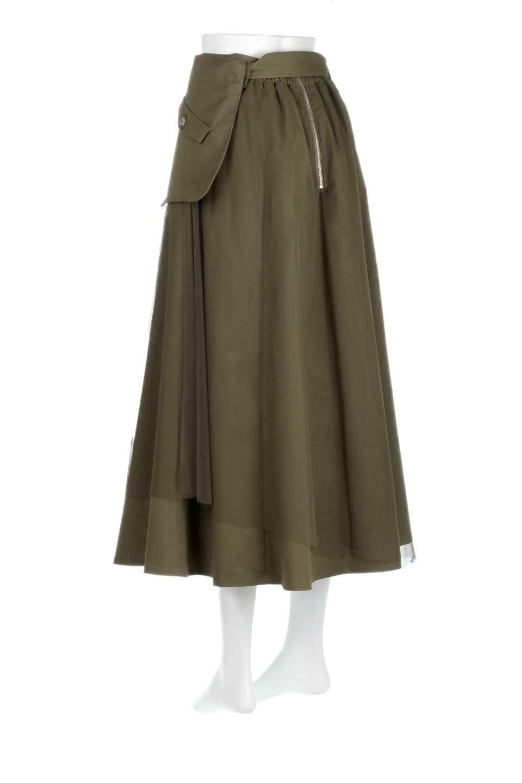 TulleLayeredLongSkirtチュールレイヤード・ロングスカート大人カジュアルに最適な海外ファッションのothers(その他インポートアイテム)のボトムやスカート。チュールとチノ素材のレイヤード・ロングスカート。ミリタリーやワーク系のディテールを透け感のあるチュールが優しく包んだスカートです。/main-3