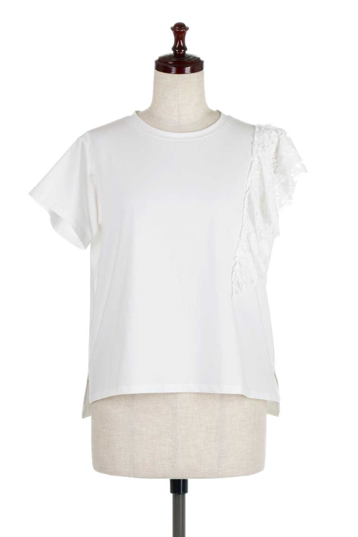 AsymmetricalRuffleBlouseアシメントリー・ラッフルブラウス大人カジュアルに最適な海外ファッションのothers(その他インポートアイテム)のトップスやシャツ・ブラウス。左側にレースを配したアシメントリーなブラウス。いつものカジュアルコーデから、キレイめ大人コーデまで様々なシチュエーションで楽しめるブラウスです。
