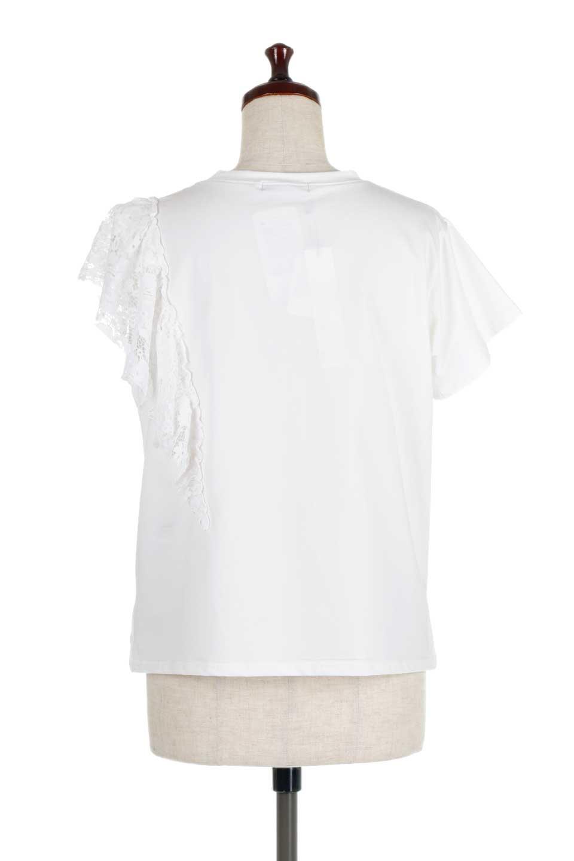 AsymmetricalRuffleBlouseアシメントリー・ラッフルブラウス大人カジュアルに最適な海外ファッションのothers(その他インポートアイテム)のトップスやシャツ・ブラウス。左側にレースを配したアシメントリーなブラウス。いつものカジュアルコーデから、キレイめ大人コーデまで様々なシチュエーションで楽しめるブラウスです。/main-4
