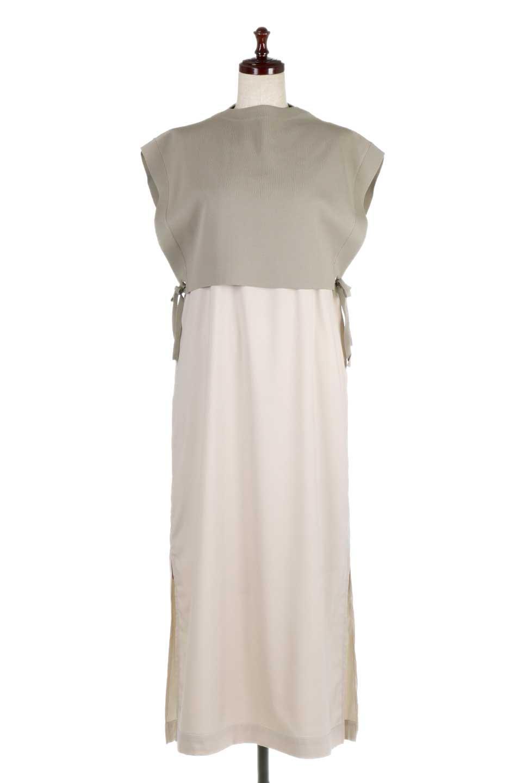 SummerKnitLayeredMaxiDressサマーニット・レイヤードワンピース大人カジュアルに最適な海外ファッションのothers(その他インポートアイテム)のワンピースやマキシワンピース。サマーニットベストとの重ね着が可愛いレイヤードマキシワンピース。コンサバ感の中にも色気を感じるサイドスリットがポイント。