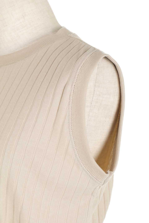 WideRibSleevelessSlitPullOverワイドリブ・ノースリーブトップス大人カジュアルに最適な海外ファッションのothers(その他インポートアイテム)のトップスやカットソー。薄手のワイドリブニットのロングトップス。そのまま着ても、付属のリボンでブラウジングしても楽しめる便利アイテム。/main-22