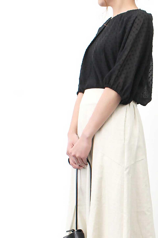 DobbyClothTuckBlouseドビー生地・タックブラウス大人カジュアルに最適な海外ファッションのothers(その他インポートアイテム)のトップスやシャツ・ブラウス。透け感のあるカットドビーの素材感を活かしたパフスリーブブラウス。首元のタックから伸びるドレープと程よい着丈の長さで着回しやすさ抜群のブラウスです。/main-28