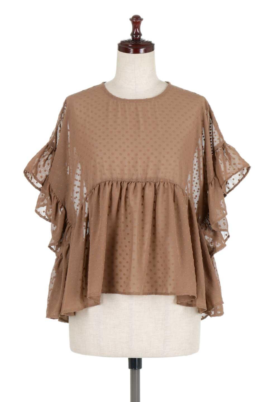 DobbyClothRuffleBlouseドビー生地・フリルブラウス大人カジュアルに最適な海外ファッションのothers(その他インポートアイテム)のトップスやシャツ・ブラウス。総柄で落ち着きのある透け感が可愛らしい、ドビー生地のフリルブラウス。様々なインナーで合わせられる夏らしい爽やかなブラウスです。/main-10
