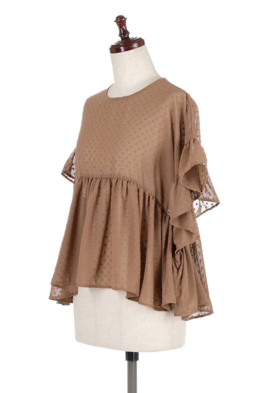 DobbyClothRuffleBlouseドビー生地・フリルブラウス大人カジュアルに最適な海外ファッションのothers(その他インポートアイテム)のトップスやシャツ・ブラウス。総柄で落ち着きのある透け感が可愛らしい、ドビー生地のフリルブラウス。様々なインナーで合わせられる夏らしい爽やかなブラウスです。/main-11