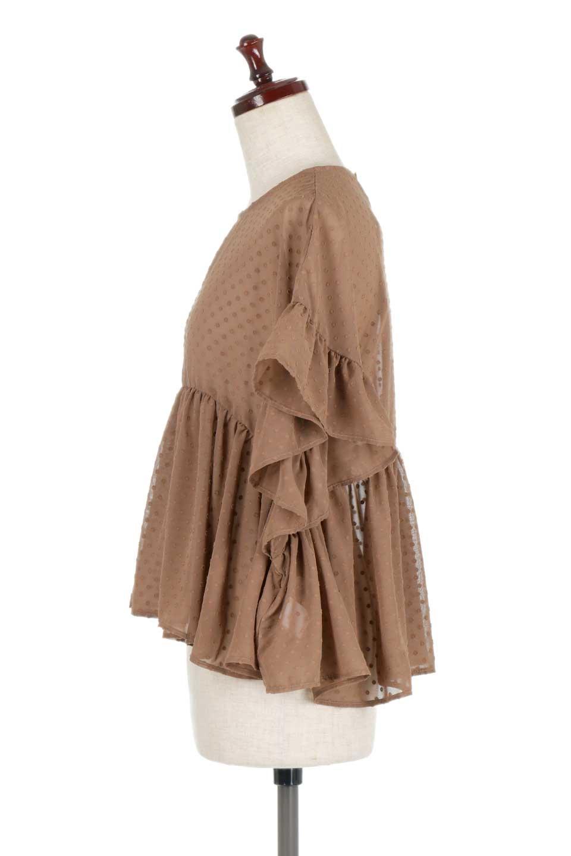 DobbyClothRuffleBlouseドビー生地・フリルブラウス大人カジュアルに最適な海外ファッションのothers(その他インポートアイテム)のトップスやシャツ・ブラウス。総柄で落ち着きのある透け感が可愛らしい、ドビー生地のフリルブラウス。様々なインナーで合わせられる夏らしい爽やかなブラウスです。/main-12