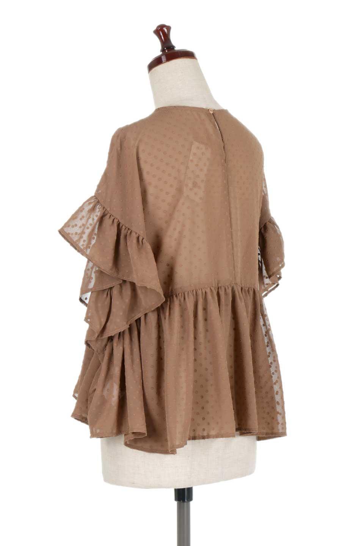 DobbyClothRuffleBlouseドビー生地・フリルブラウス大人カジュアルに最適な海外ファッションのothers(その他インポートアイテム)のトップスやシャツ・ブラウス。総柄で落ち着きのある透け感が可愛らしい、ドビー生地のフリルブラウス。様々なインナーで合わせられる夏らしい爽やかなブラウスです。/main-13