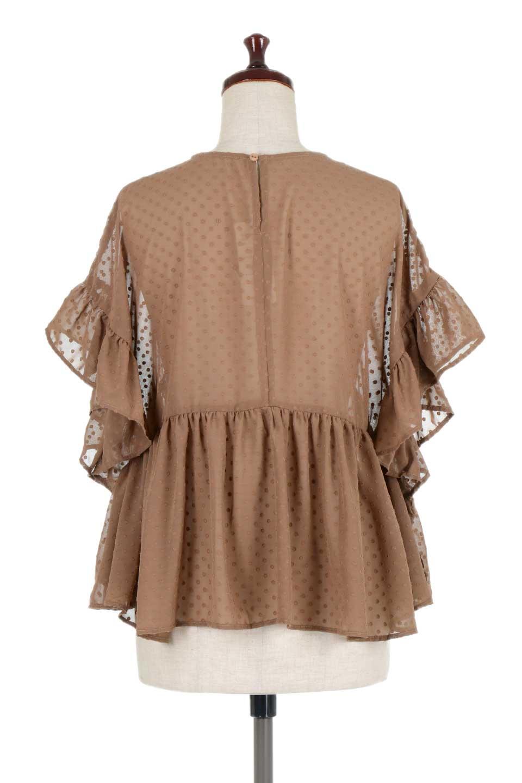 DobbyClothRuffleBlouseドビー生地・フリルブラウス大人カジュアルに最適な海外ファッションのothers(その他インポートアイテム)のトップスやシャツ・ブラウス。総柄で落ち着きのある透け感が可愛らしい、ドビー生地のフリルブラウス。様々なインナーで合わせられる夏らしい爽やかなブラウスです。/main-14