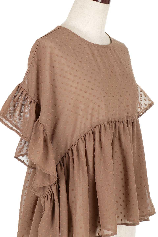 DobbyClothRuffleBlouseドビー生地・フリルブラウス大人カジュアルに最適な海外ファッションのothers(その他インポートアイテム)のトップスやシャツ・ブラウス。総柄で落ち着きのある透け感が可愛らしい、ドビー生地のフリルブラウス。様々なインナーで合わせられる夏らしい爽やかなブラウスです。/main-15