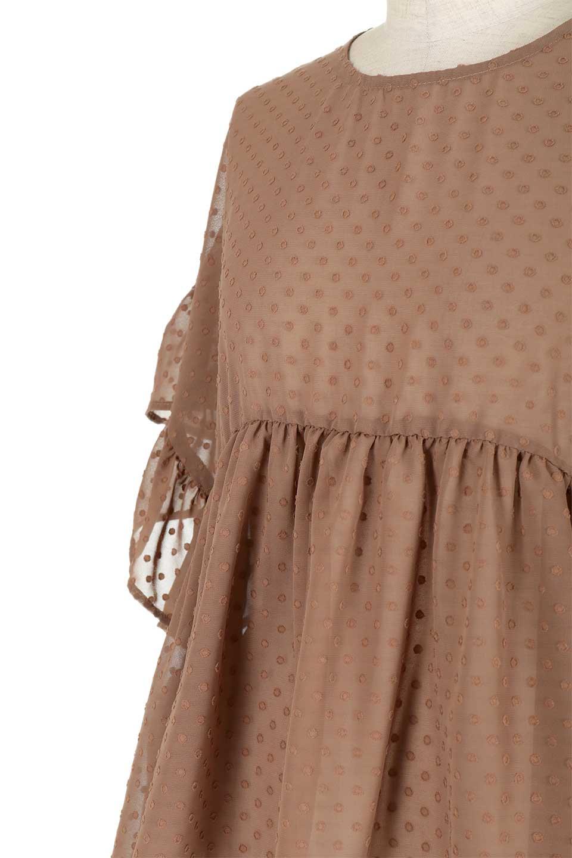 DobbyClothRuffleBlouseドビー生地・フリルブラウス大人カジュアルに最適な海外ファッションのothers(その他インポートアイテム)のトップスやシャツ・ブラウス。総柄で落ち着きのある透け感が可愛らしい、ドビー生地のフリルブラウス。様々なインナーで合わせられる夏らしい爽やかなブラウスです。/main-17