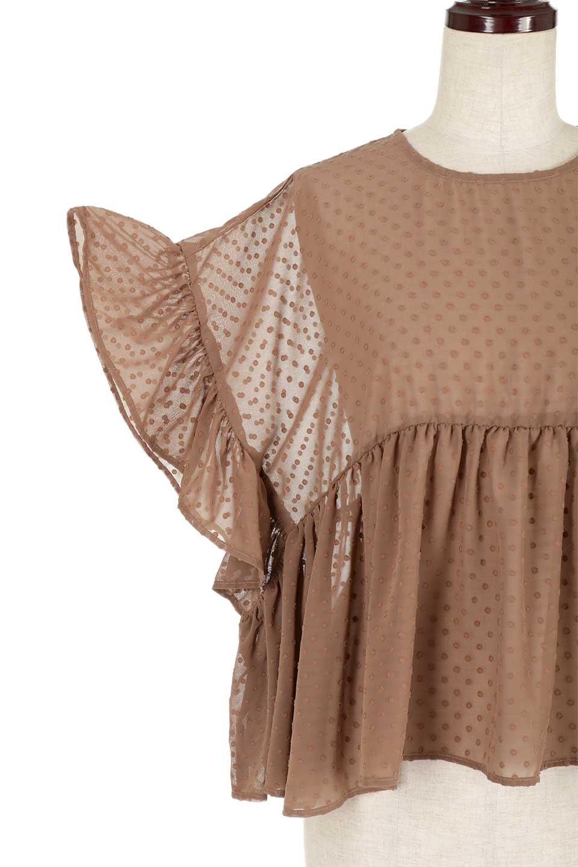 DobbyClothRuffleBlouseドビー生地・フリルブラウス大人カジュアルに最適な海外ファッションのothers(その他インポートアイテム)のトップスやシャツ・ブラウス。総柄で落ち着きのある透け感が可愛らしい、ドビー生地のフリルブラウス。様々なインナーで合わせられる夏らしい爽やかなブラウスです。/main-19