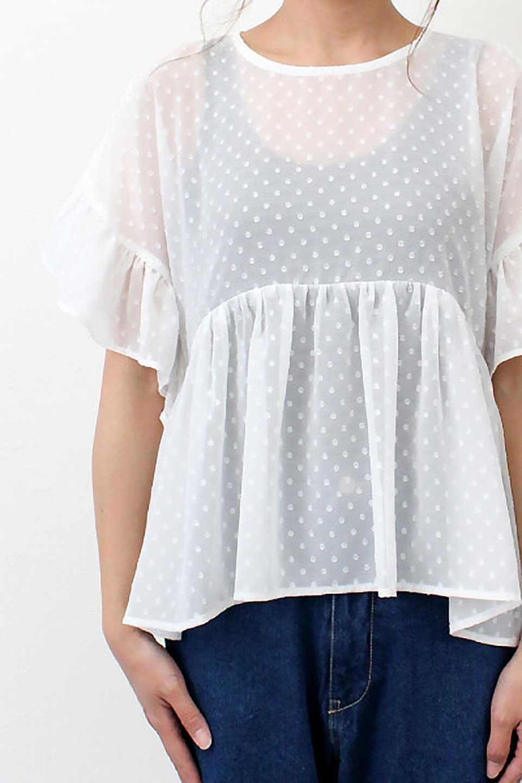 DobbyClothRuffleBlouseドビー生地・フリルブラウス大人カジュアルに最適な海外ファッションのothers(その他インポートアイテム)のトップスやシャツ・ブラウス。総柄で落ち着きのある透け感が可愛らしい、ドビー生地のフリルブラウス。様々なインナーで合わせられる夏らしい爽やかなブラウスです。/main-22