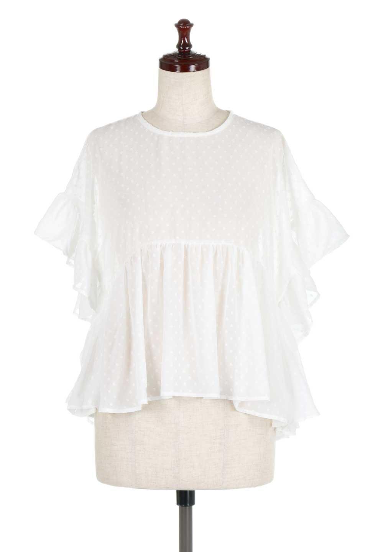 DobbyClothRuffleBlouseドビー生地・フリルブラウス大人カジュアルに最適な海外ファッションのothers(その他インポートアイテム)のトップスやシャツ・ブラウス。総柄で落ち着きのある透け感が可愛らしい、ドビー生地のフリルブラウス。様々なインナーで合わせられる夏らしい爽やかなブラウスです。/main-5