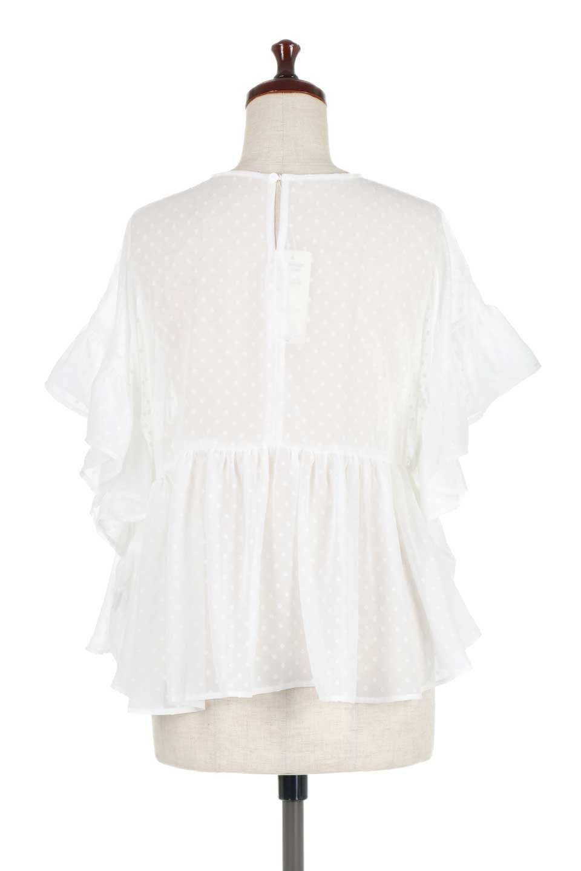 DobbyClothRuffleBlouseドビー生地・フリルブラウス大人カジュアルに最適な海外ファッションのothers(その他インポートアイテム)のトップスやシャツ・ブラウス。総柄で落ち着きのある透け感が可愛らしい、ドビー生地のフリルブラウス。様々なインナーで合わせられる夏らしい爽やかなブラウスです。/main-9