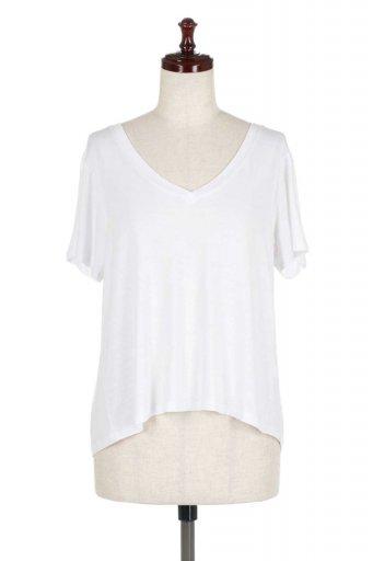 海外ファッションや大人カジュアルにオススメなインポートセレクトアイテムL.A.直輸入のHigh-Low Shirring Top テールカット・シャーリングトップス