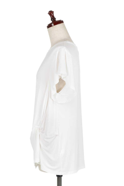 L.A.直輸入のFrontKnotAsymmetricalSmoothTopクロスデザイン・バタフライスリーブT大人カジュアルに最適な海外ファッションのothers(その他インポートアイテム)のトップスやカットソー。フロントのネジリが可愛いスムース素材のカットソー。ひらひらのバタフライスリーブがテロテロ素材を引き立てて女性らしい着こなしが楽しめます。/main-2