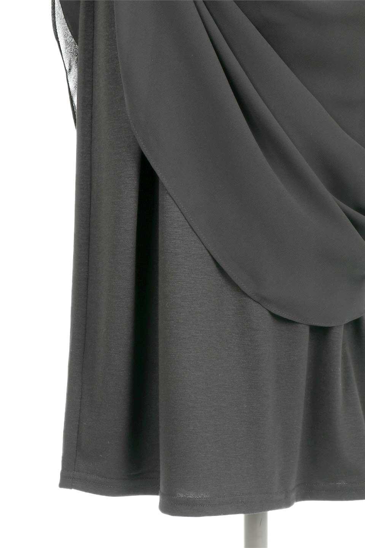 FrenchSleeveLayeredDressウエストドロスト・レイヤードワンピース大人カジュアルに最適な海外ファッションのothers(その他インポートアイテム)のワンピースやミディワンピース。ウエストで絞り具合を調節できるフレンチスリーブのワンピース。透け感のあるシフォン素材とカットソー素材の組み合わせで、上品なレイヤード感が楽しめるアイテムです。/main-14