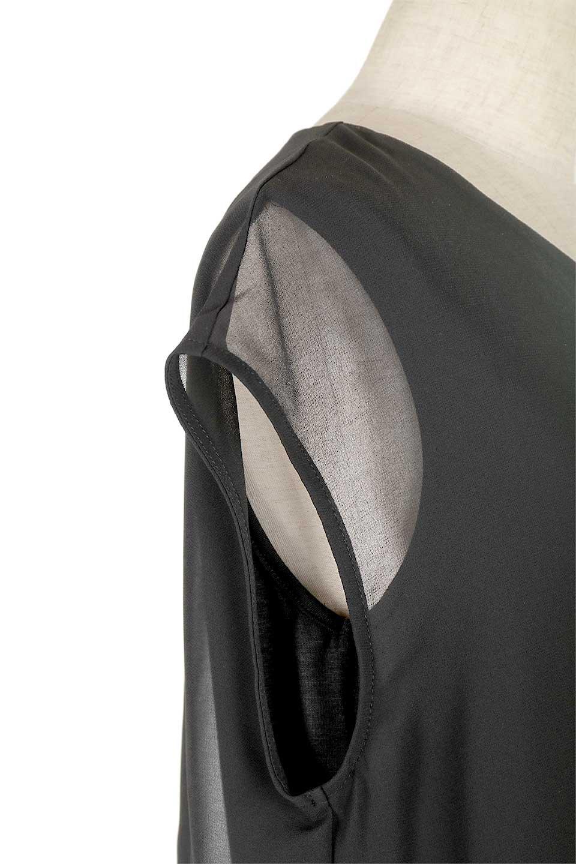 FrenchSleeveLayeredDressウエストドロスト・レイヤードワンピース大人カジュアルに最適な海外ファッションのothers(その他インポートアイテム)のワンピースやミディワンピース。ウエストで絞り具合を調節できるフレンチスリーブのワンピース。透け感のあるシフォン素材とカットソー素材の組み合わせで、上品なレイヤード感が楽しめるアイテムです。/main-6