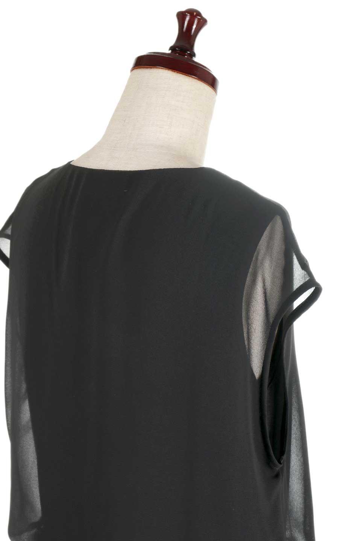 FrenchSleeveLayeredDressウエストドロスト・レイヤードワンピース大人カジュアルに最適な海外ファッションのothers(その他インポートアイテム)のワンピースやミディワンピース。ウエストで絞り具合を調節できるフレンチスリーブのワンピース。透け感のあるシフォン素材とカットソー素材の組み合わせで、上品なレイヤード感が楽しめるアイテムです。/main-8