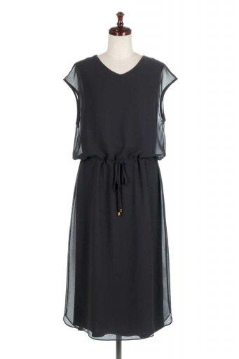 海外ファッションや大人カジュアルに最適なインポートセレクトアイテムのFrench Sleeve Layered Dress ウエストドロスト・レイヤードワンピース