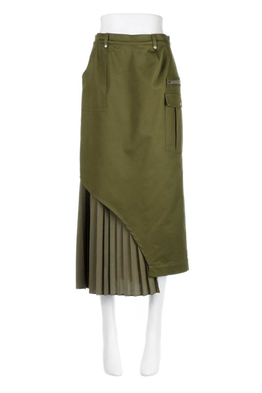 AsymmetricalPleatedCargoSkirtプリーツ&カーゴポケット・アシメントリースカート大人カジュアルに最適な海外ファッションのothers(その他インポートアイテム)のボトムやスカート。ミリタリーテイストをアレンジしたアシメントリーなデザインのロングスカート。ミリタリーやワーク風のハードな雰囲気と、膝下から伸びる丸みを帯びたカットから覗くフェミニンなプリーツの甘辛コンビネーション。