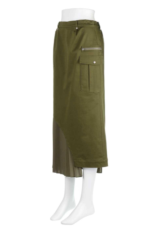 AsymmetricalPleatedCargoSkirtプリーツ&カーゴポケット・アシメントリースカート大人カジュアルに最適な海外ファッションのothers(その他インポートアイテム)のボトムやスカート。ミリタリーテイストをアレンジしたアシメントリーなデザインのロングスカート。ミリタリーやワーク風のハードな雰囲気と、膝下から伸びる丸みを帯びたカットから覗くフェミニンなプリーツの甘辛コンビネーション。/main-1