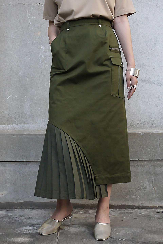 AsymmetricalPleatedCargoSkirtプリーツ&カーゴポケット・アシメントリースカート大人カジュアルに最適な海外ファッションのothers(その他インポートアイテム)のボトムやスカート。ミリタリーテイストをアレンジしたアシメントリーなデザインのロングスカート。ミリタリーやワーク風のハードな雰囲気と、膝下から伸びる丸みを帯びたカットから覗くフェミニンなプリーツの甘辛コンビネーション。/main-24