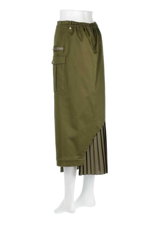 AsymmetricalPleatedCargoSkirtプリーツ&カーゴポケット・アシメントリースカート大人カジュアルに最適な海外ファッションのothers(その他インポートアイテム)のボトムやスカート。ミリタリーテイストをアレンジしたアシメントリーなデザインのロングスカート。ミリタリーやワーク風のハードな雰囲気と、膝下から伸びる丸みを帯びたカットから覗くフェミニンなプリーツの甘辛コンビネーション。/main-3