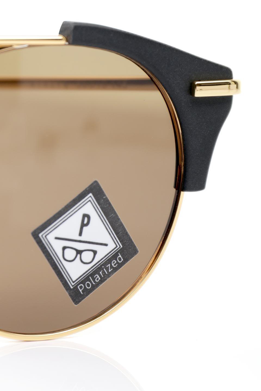 WONDERLANDのRIALTO(01-MattBlack&Gold/BronzePolarizedLens)リアルト・メタルフレーム・サングラス/WONDERLANDのメガネ・サングラスや。丸型レンズで人気のIndioよりヴィンテージかつエレガントにアップデートされたモデル。両サイドの「ヨロイ」と呼ばれる箇所に装飾を施しているため、着用時には単なる丸型レンズとは違った印象になります。/main-14