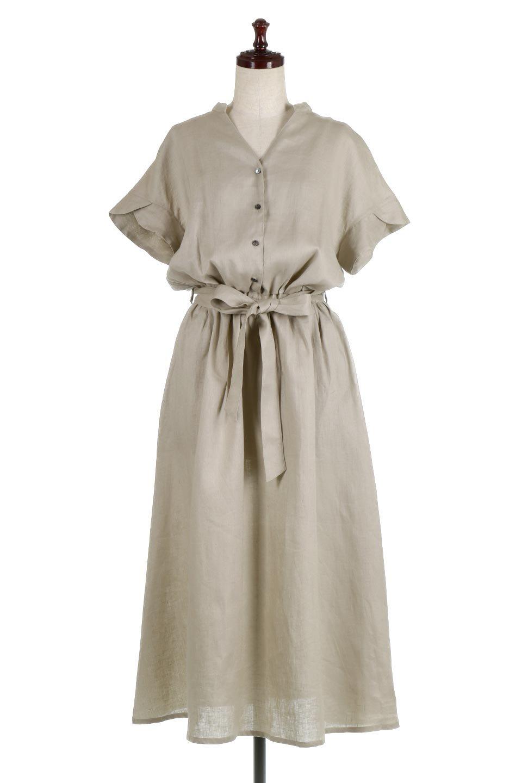 WaistRibbonLongLinenDress美シルエット・リネンワンピース大人カジュアルに最適な海外ファッションのothers(その他インポートアイテム)のワンピースやマキシワンピース。涼し気なリネン(麻)100%のロングワンピース。麻100%生地は吸湿速乾が特徴なので、暑い夏にもさらりと快適に着て頂けます。