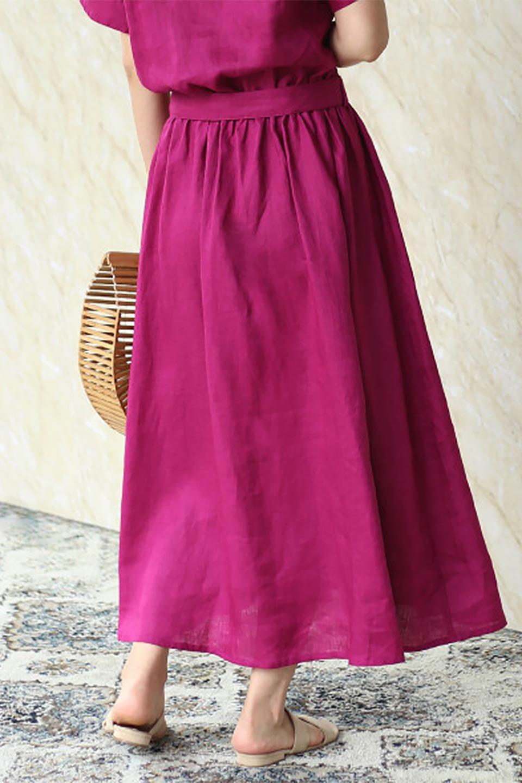 WaistRibbonLongLinenDress美シルエット・リネンワンピース大人カジュアルに最適な海外ファッションのothers(その他インポートアイテム)のワンピースやマキシワンピース。涼し気なリネン(麻)100%のロングワンピース。麻100%生地は吸湿速乾が特徴なので、暑い夏にもさらりと快適に着て頂けます。/main-22