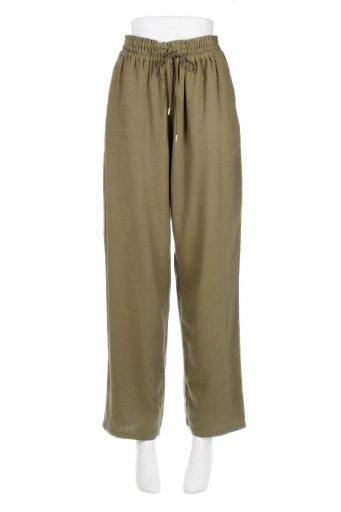 海外ファッションや大人カジュアルに最適なインポートセレクトアイテムのLinen Mix Wide Leg Pants 麻混・イージーワイドパンツ