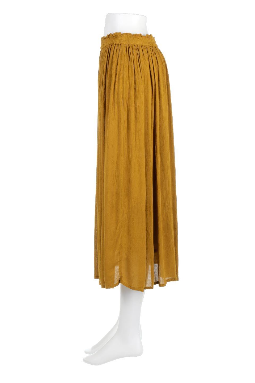 ShinyGatheredMidiSkirtクレープレーヨン・ギャザースカート大人カジュアルに最適な海外ファッションのothers(その他インポートアイテム)のボトムやスカート。レーヨン混で薄くてなめらかな肌触り、微光沢のある生地感のスカート。クレープのような薄い生地がふんわり空気感のあるボリュームを演出します。/main-2