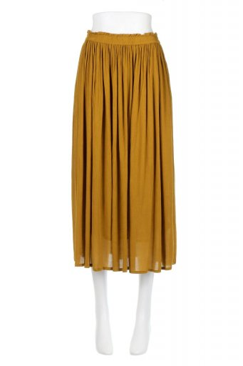 海外ファッションや大人カジュアルに最適なインポートセレクトアイテムのShiny Gathered Midi Skirt クレープレーヨン・ギャザースカート