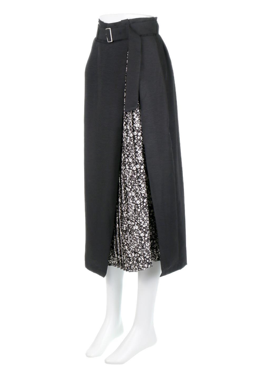 FloralPleatedPanelLongSkirtsプリーツ切り替え・ロングスカート大人カジュアルに最適な海外ファッションのothers(その他インポートアイテム)のボトムやスカート。人気のプリーツ切り替えタイプのロングスカート。チラ見せのプリーツ部分は同色系の小花柄。/main-10