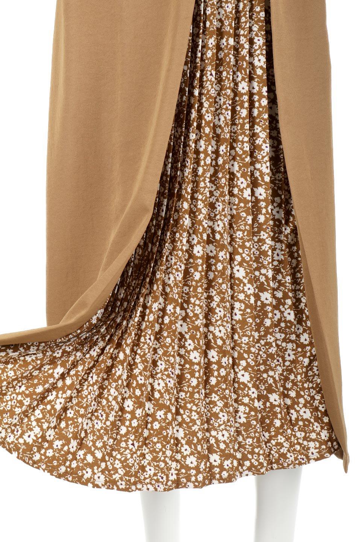 FloralPleatedPanelLongSkirtsプリーツ切り替え・ロングスカート大人カジュアルに最適な海外ファッションのothers(その他インポートアイテム)のボトムやスカート。人気のプリーツ切り替えタイプのロングスカート。チラ見せのプリーツ部分は同色系の小花柄。/main-19