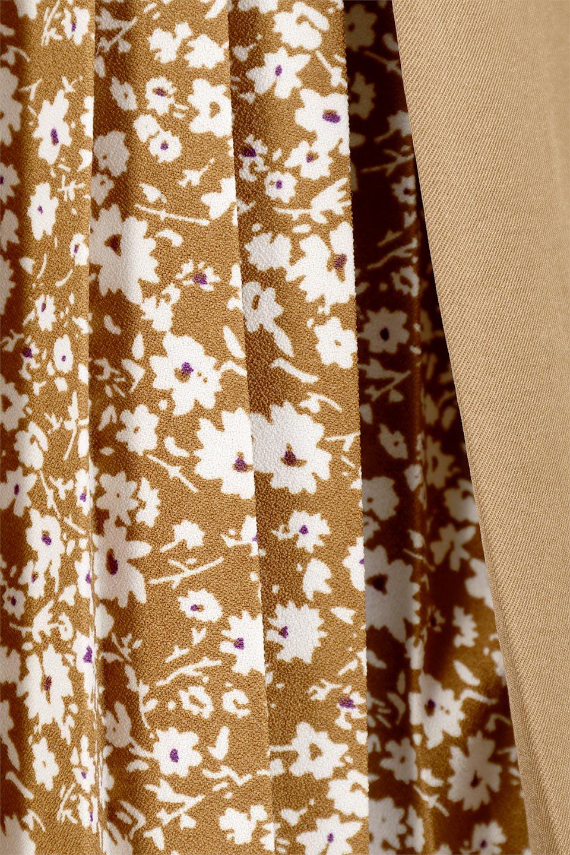 FloralPleatedPanelLongSkirtsプリーツ切り替え・ロングスカート大人カジュアルに最適な海外ファッションのothers(その他インポートアイテム)のボトムやスカート。人気のプリーツ切り替えタイプのロングスカート。チラ見せのプリーツ部分は同色系の小花柄。/main-20