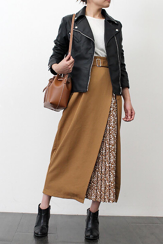 FloralPleatedPanelLongSkirtsプリーツ切り替え・ロングスカート大人カジュアルに最適な海外ファッションのothers(その他インポートアイテム)のボトムやスカート。人気のプリーツ切り替えタイプのロングスカート。チラ見せのプリーツ部分は同色系の小花柄。/main-24