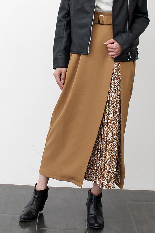 FloralPleatedPanelLongSkirtsプリーツ切り替え・ロングスカート大人カジュアルに最適な海外ファッションのothers(その他インポートアイテム)のボトムやスカート。人気のプリーツ切り替えタイプのロングスカート。チラ見せのプリーツ部分は同色系の小花柄。/main-26
